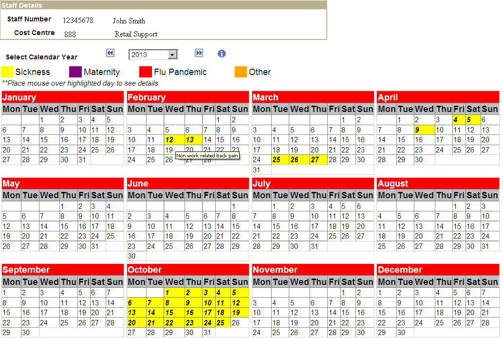 generating a calendar view of employee absence the peoplesoft